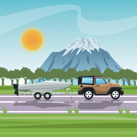 car with boat icon. Vehicle transportation travel and trip theme. Colorful design. Vector illustration