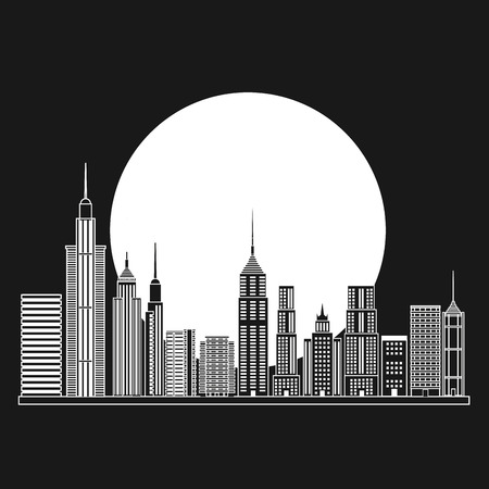 Buildings and moon icon. Big city architecture and urban theme. Black and white design. Vector illustration