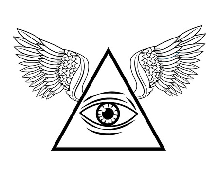 eye of providence: Eye of providence with wings icon. Tattoo art urban style and culture theme. Vector illustration Illustration