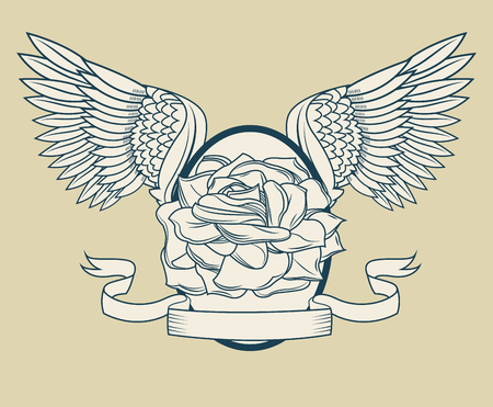 rose tattoo: Rose with wings icon. Tattoo art urban style and culture theme. Vector illustration