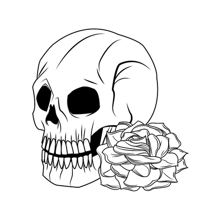 rose tattoo: Skull and rose icon. Tattoo art urban style and culture theme. Vector illustration
