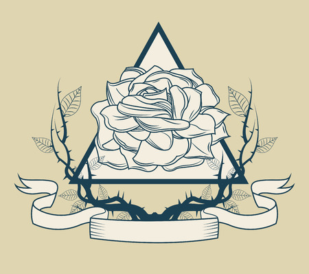 rose tattoo: Rose with branches icon. Tattoo art urban style and culture theme. Vector illustration Illustration