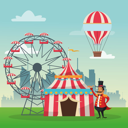 man in air: striped tent ferris wheel man and hot air balloon icon. Carnival festival fair circus and celebration theme. Colorful design. Vector illustration Illustration