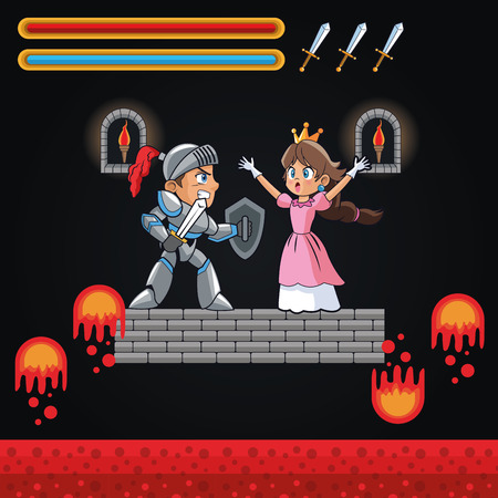 videogame: Princess and warrior icon. Videogame play gaming and entertainment theme. Colorful design. Vector illustration Illustration