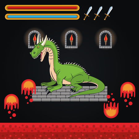 obsession: Dragon icon. Videogame play gaming and entertainment theme. Colorful design. Vector illustration