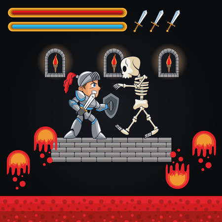 videogame: Warrior and skull icon. Videogame play gaming and entertainment theme. Colorful design. Vector illustration