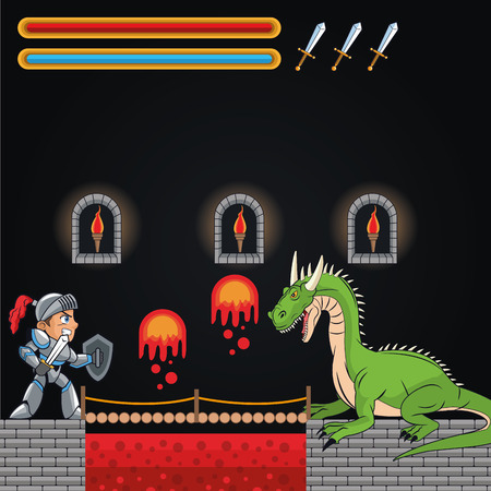 videogame: Dragon warrior icon. Videogame play gaming and entertainment theme. Colorful design. Vector illustration