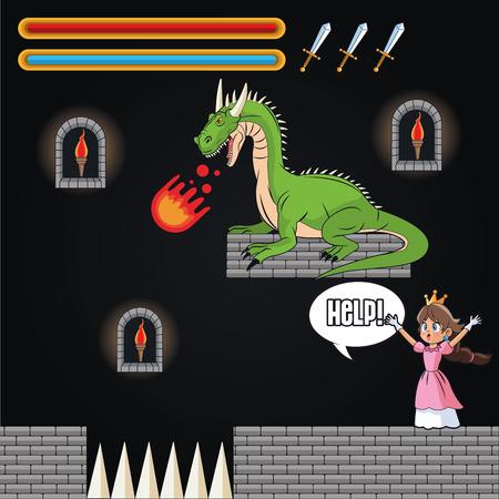 videogame: Dragon and princess icon. Videogame play gaming and entertainment theme. Colorful design. Vector illustration
