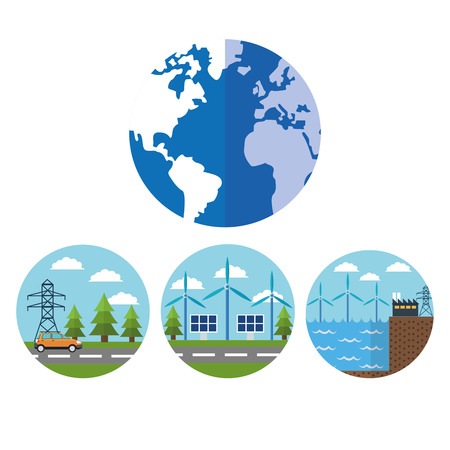 wind mill: Planet wind mill solar panel factory car and energy tower icon. Ecology renewable innovation and alternative theme. Vector illustration