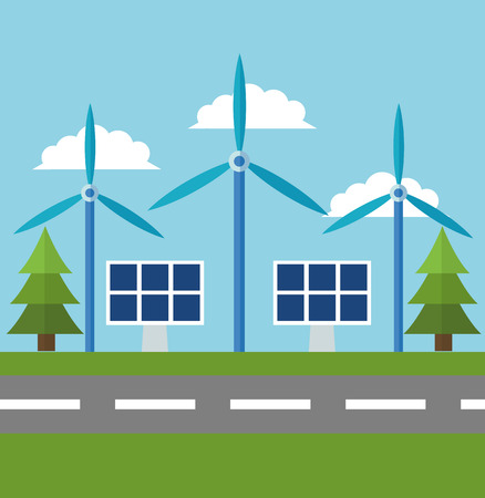 wind mill: Wind mill solar panel and pine tree icon. Ecology renewable innovation and alternative theme. Vector illustration