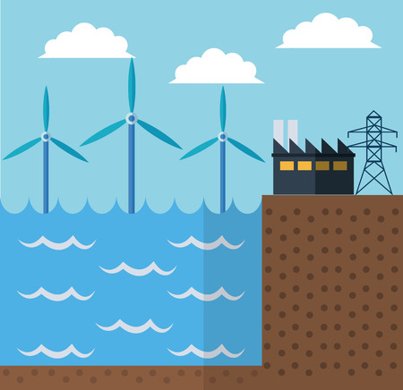wind mill: Wind mill sea and industry icon. Ecology renewable innovation and alternative theme. Vector illustration Illustration