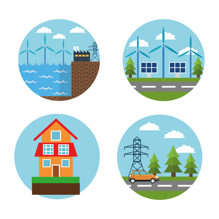 wind mill: Wind mill factory house solar panel car and energy tower icon. Ecology renewable innovation and alternative theme. Vector illustration Illustration
