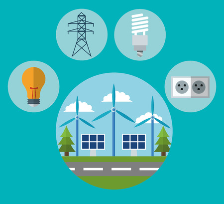 wind mill: Wind mill solar panel bulb energy tower and plug icon. Ecology renewable innovation and alternative theme. Vector illustration