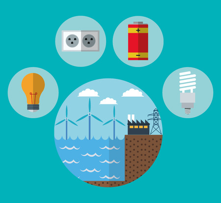 wind mill: wind mill factory bulb battery and plug icon. Ecology renewable innovation and alternative theme. Vector illustration