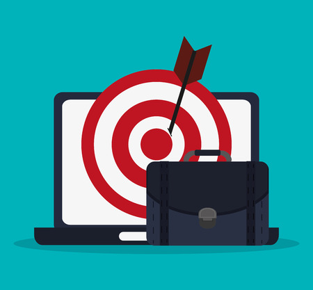 information medium: Laptop target and suitcase icon. digital marketing media and seo theme. Colorful design. Vector illustration