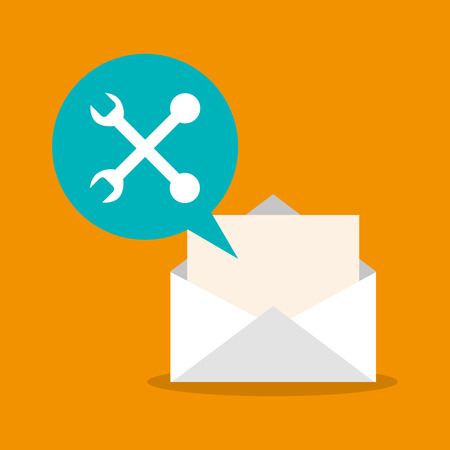communications tools: Tools and envelope icon. mail message and letter theme. Colorful design. Vector illustration