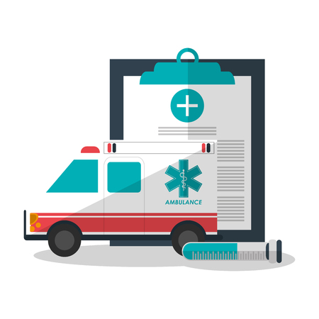 historia clinica: Medical historyand ambulance icon. Medical health care and hospital  theme. Colorful design. Vector illustration
