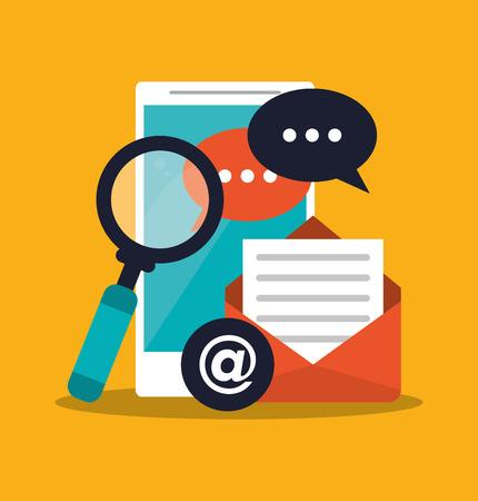Smartphone lupe and envelope icon. digital marketing media and ecommerce theme. Colorful design. Vector illustration Illustration