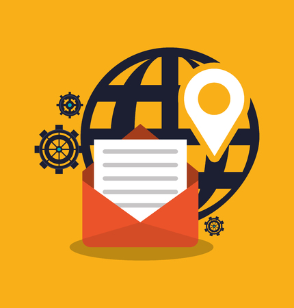 information medium: envelope and global icon. digital marketing media and ecommerce theme. Colorful design. Vector illustration Illustration