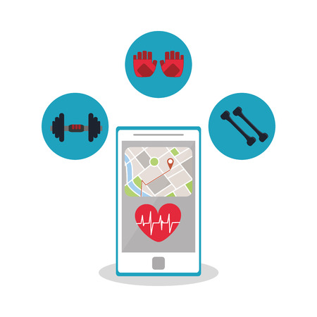doctor gloves: Smartphone weights and gloves icon. Healthy lifestyle fitness and gym theme. Colorful design. Vector illustration Illustration