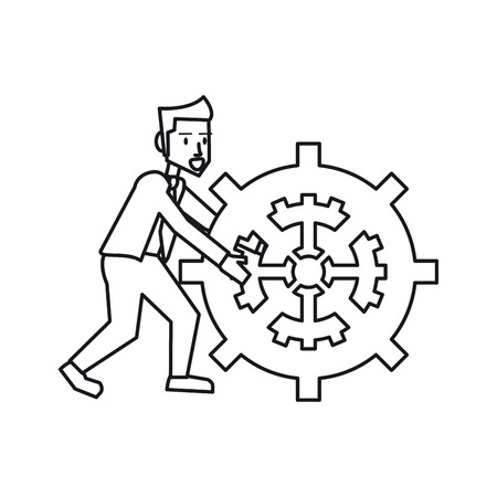 associates: Businessman avatar with gear icon. Businesspeople management and corporate theme. Isolated design. Vector illustration