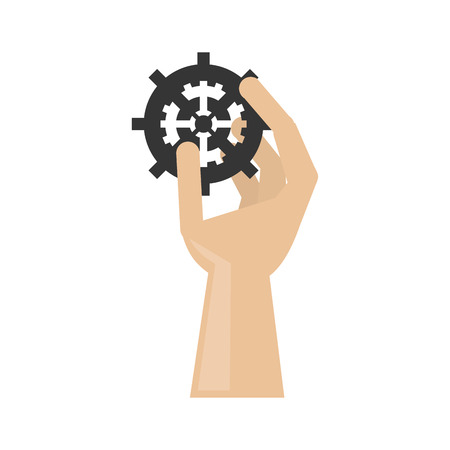 Hand holding gear icon. tool instrument repair and construction theme. Isolated design. Vector illustration Illustration