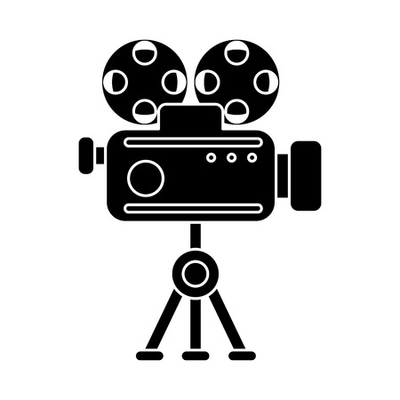cinema viewing: Cinema videocamera icon. Movie video media and entertainment theme. Isolated design. Vector illustration