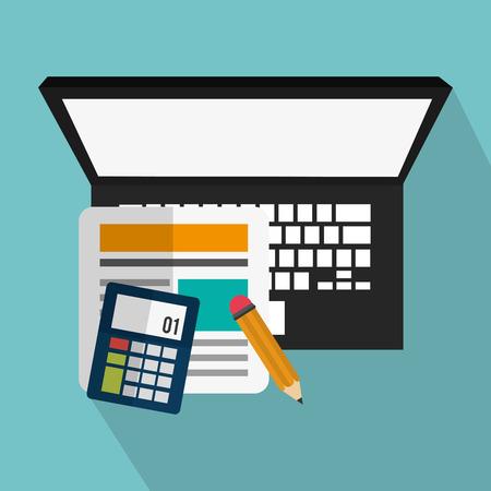 Ordenador portátil y icono de la calculadora. los medios de comunicación de marketing digital y el tema de comercio electrónico. El diseño colorido. ilustración vectorial