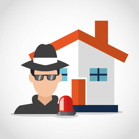 detected: Thief and house icon. Security system warning and protection theme. Colorful design. Vector illustration