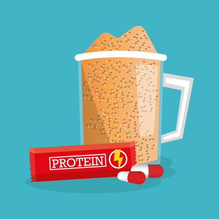 Protein supplement glass con. Healthy lifestyle theme. Colorful design. Vector illustration