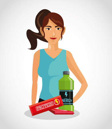 Protein supplement and avatar woman icon. Healthy lifestyle theme. Colorful design. Vector illustration Illustration