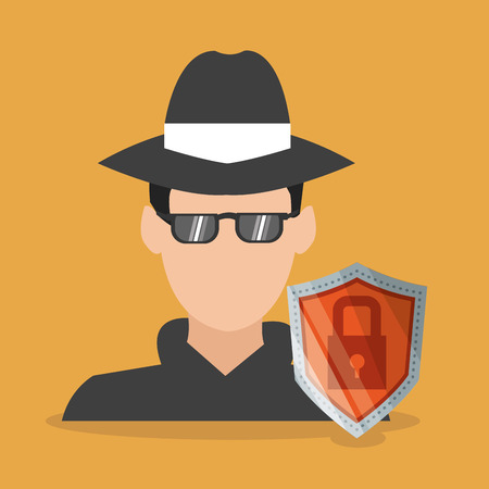 Thief and shield icon. Security system warning and protection theme. Colorful design. Vector illustration Illustration
