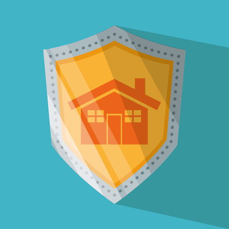 menace: House and shield icon. Security system warning and protection theme. Colorful design. Vector illustration