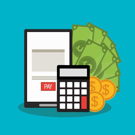 registros contables: documento de la factura y el icono del teléfono inteligente. el pago del finanace negocio y el tema fiscal. El diseño colorido. ilustración vectorial