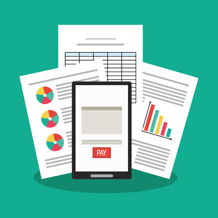 record office: Invoice document and smartphone icon. Business finanace payment and tax theme. Colorful design. Vector illustration