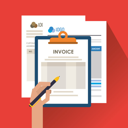 accounts payable: Invoice document and pen icon. Business finanace payment and tax theme. Colorful design. Vector illustration Illustration