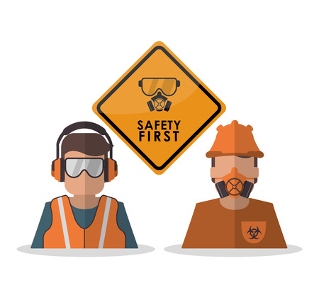 overhead: Avatar worker with glasses icon. Industrial safety security and protection theme. Colorful design. Vector illustration