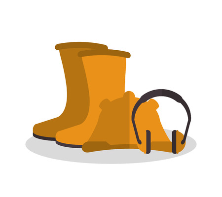 detection: Headphone helmet and boots icon. Industrial safety security and protection theme. Colorful design. Vector illustration