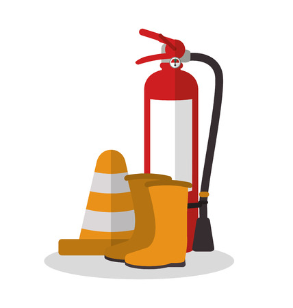 Extinguisher and boots icon. Industrial safety security and protection theme. Colorful design. Vector illustration Illustration