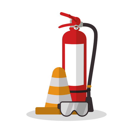 Extinguisher and glasses icon. Industrial safety security and protection theme. Colorful design. Vector illustration Illustration