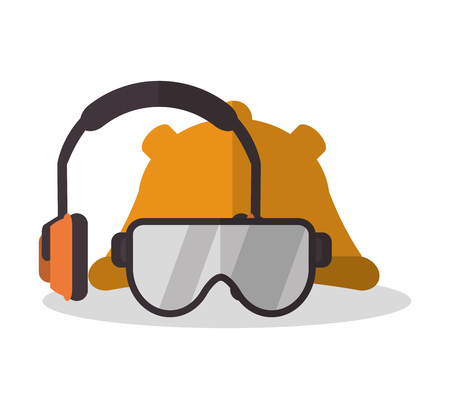 detection: Headphone glasses and helmet icon. Industrial safety security and protection theme. Colorful design. Vector illustration