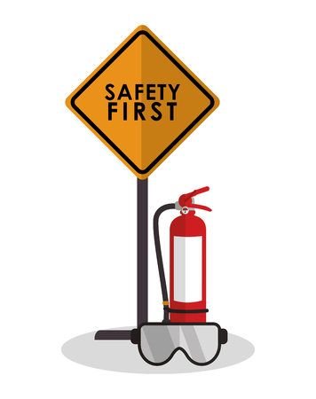 industrial safety: Extinguisher and glasses icon. Industrial safety security and protection theme. Colorful design. Vector illustration Illustration