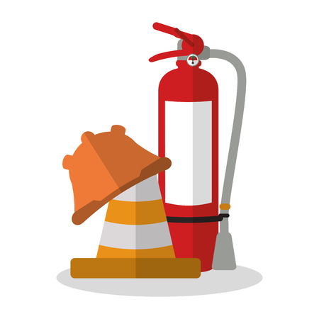 overhead: Extinguisher and helmet icon. Industrial safety security and protection theme. Colorful design. Vector illustration
