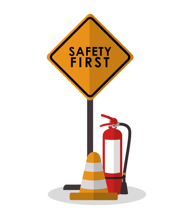 Extinguisher and cone icon. Industrial safety security and protection theme. Colorful design. Vector illustration