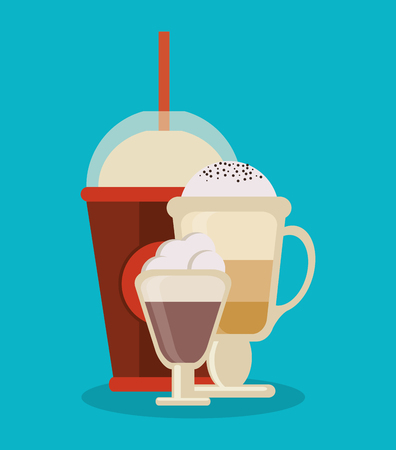 break time: Mug and glass icon. Coffee shop drink and beverage theme. Colorful design. Vector illustration