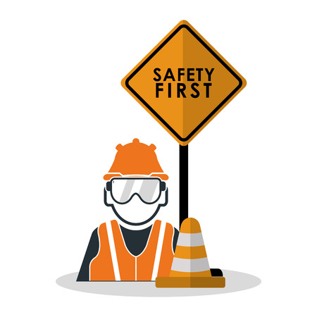 detection: Avatar worker with glasses icon. Industrial safety security and protection theme. Colorful design. Vector illustration