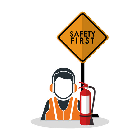 detection: Avatar worker with headphone icon. Industrial safety security and protection theme. Colorful design. Vector illustration