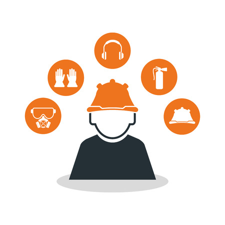 overhead: Avatar worker icon. Industrial safety security and protection theme. Colorful design. Vector illustration