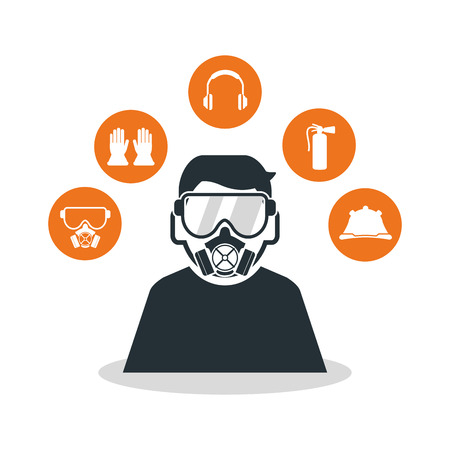 overhead: Avatar worker with mask icon. Industrial safety security and protection theme. Colorful design. Vector illustration