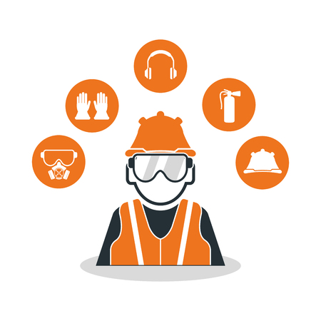 industrial safety: Avatar worker with glasses icon. Industrial safety security and protection theme. Colorful design. Vector illustration